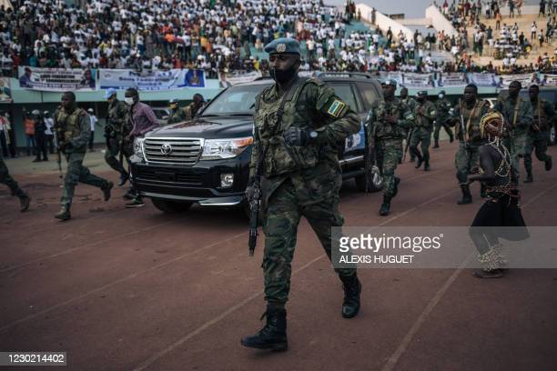 The motorcade of the President of the Central African Republic, arrives at the 20,000-seat stadium, for an electoral rally, escorted by the...