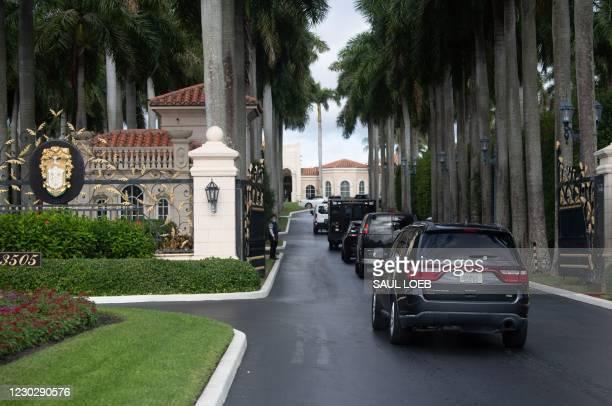 The motorcade of US President Donald Trump arrives at Trump International Golf Club in West Palm Beach, Florida, December 24, 2020.