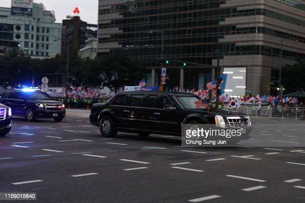 The motorcade of US President Donald Trump drives in downtown on June 29 2019 in Seoul South Korea US President Donald Trump is in South Korea from...