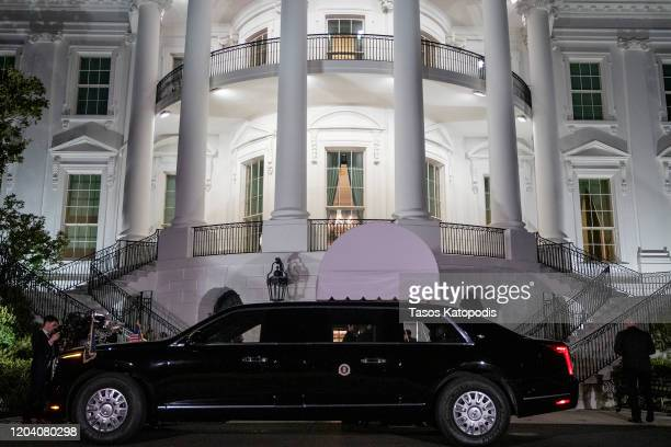 The motorcade of U.S. President Donald Trump waits on the South Lawn of the White House on February 04, 2020 in Washington, DC. President Trump...