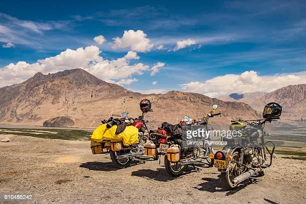 The motorcycles are parking beside Diskit Monastery in Leh Ladakh, Jammu and Kashmir, India