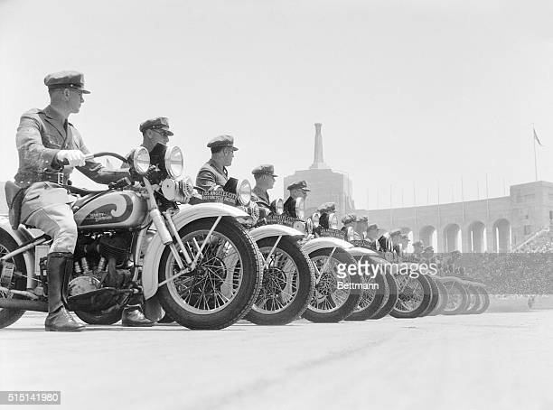 The motorcyle squad lines up during the Los Angeles Police Department's semiannual inspection and review in the Coliseum in Exposition Park.