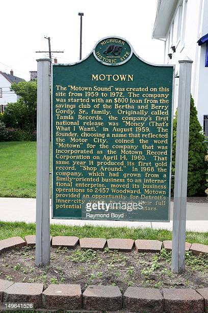 The Motown Historic Plaque sits outside of Hitsville USA original home of Motown Records in Detroit Michigan on JULY 22 2012
