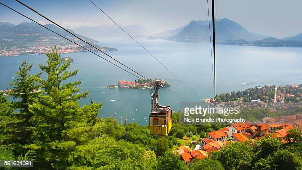 the mottarone cable car, lake maggiore, italy. - stresa stock pictures, royalty-free photos & images
