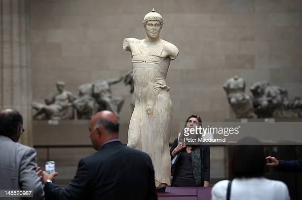 The Motya Charioteer is displayed in The British Museum's 'Winning at the ancient Games' victory trail on June 1 2012 in London England To celebrate...