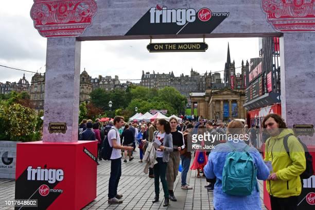 The Mound precinct during the Edinburgh Festival Fringe on August 16 2018 in Edinburgh Scotland
