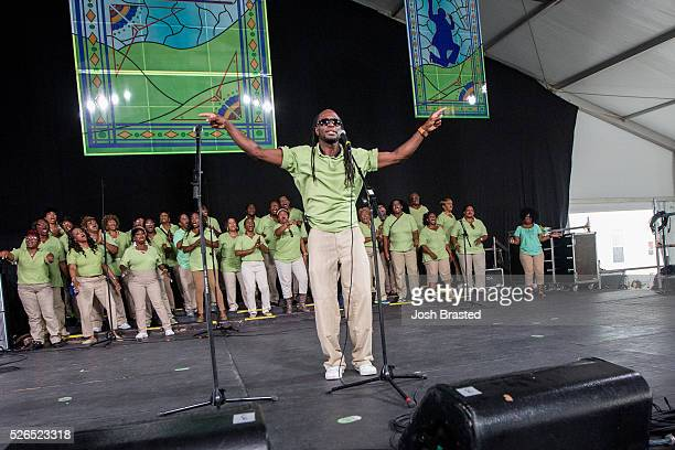 The Mount Hermon Baptist Church Praise Delegation Choir performs at the New Orleans Jazz Heritage Festival at Fair Grounds Race Course on April 29...