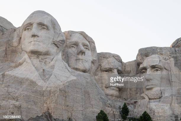 The Mount Rushmore National Memorial in Keystone South Dakota United States is seen on July 8 2018 Sculptures of George Washington Thomas Jefferson...