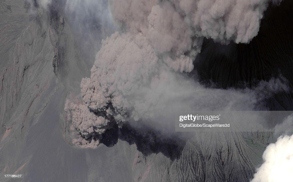 VOLCANO, ERUPTION, JAPAN - AUGUST 22, 2013: The Mount Sakurajima Volcano, near Kagoshima Japan, is captured here spewing ash by a DigitalGlobe Satellite on August 22, 2013.