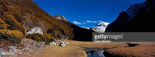 The mountain Chenadorje the deity of power one of three holy mountains for Buddhists in Yading a reserve in southwest Sichuan Province China This...