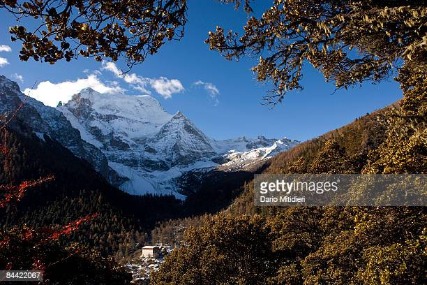 The mountain Chenrezi the deity of compassion one of three holy mountains for Buddhists overlooking the Conggu Monastery in Yading a reserve in...