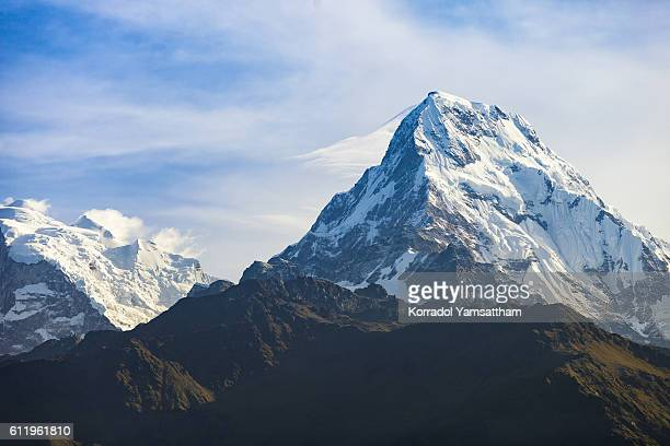 the mountain from poon hill - machapuchare stock photos and pictures