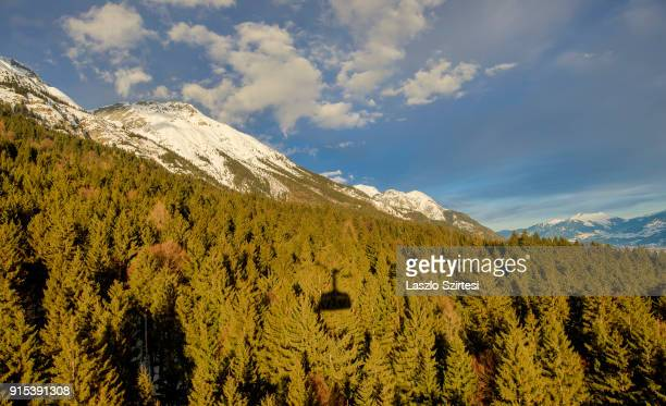 The Mountain Nordkette is seen from the cablecar on January 26 2018 in Innsbruck Austria