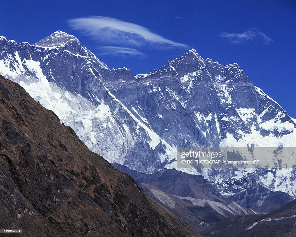The mountain range of Mount Everest and Lhotse in Nepal : Stock Photo