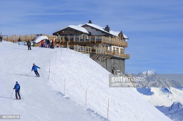 The mountain restaurant Le Panoramic Courchevel 1850 ski resort Trois Vallees skiing area Tarentaise valley Savoie department Rhone Alpes region...