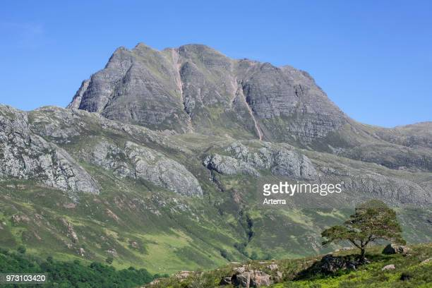 The mountain Slioch composed of Torridonian sandstone on a base of Lewisian Gneiss Wester Ross Scottish Highlands Scotland UK