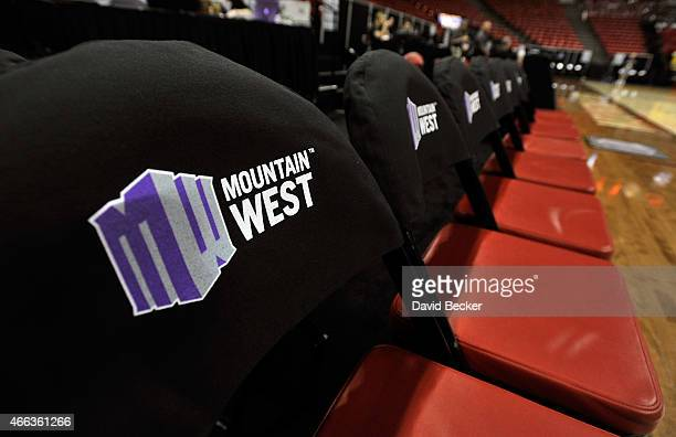 The Mountain West Conference logo covers courtside seats before the championship game of the Mountain West Conference basketball tournament between...
