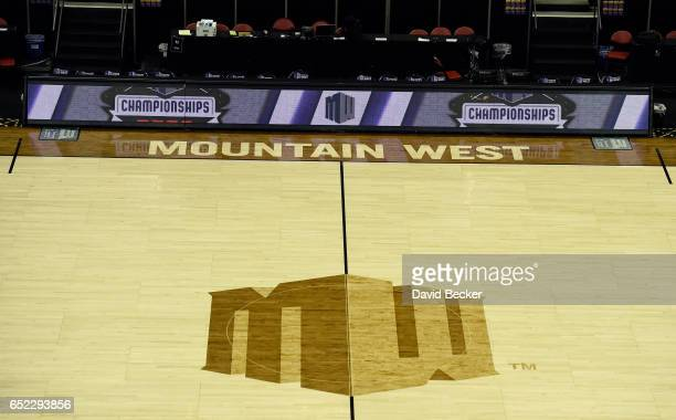 The Mountain West Conference logo is seen on the court before the championship game of the Mountain West Conference basketball tournament between the...