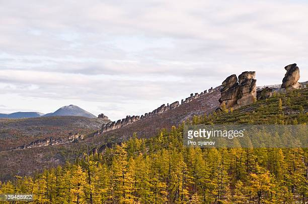The mountainous terrain.