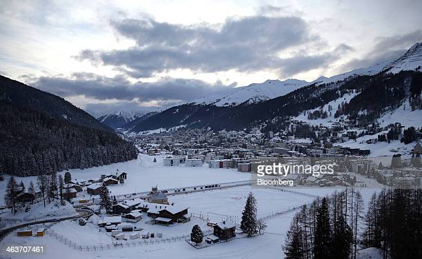 The mountains and town of Davos are seen from the balcony at the 'Studio Grigio' bar at the InterContinental hotel Davos operated by InterContinental...