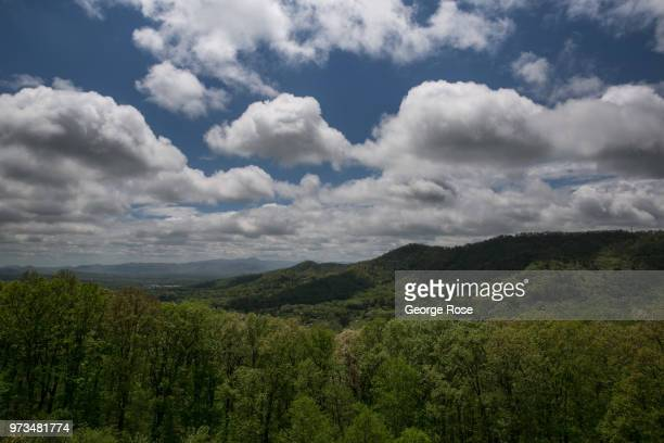 The mountains from Tanbark Ridge Overlook located along the Blue Ridge Parkway are viewed on May 7 2018 near Asheville North Carolina Located in the...