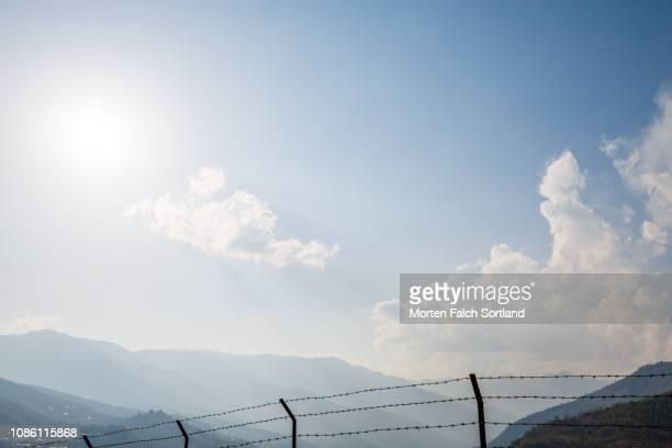 the mountains of paro, bhutan springtime - paro district stock pictures, royalty-free photos & images