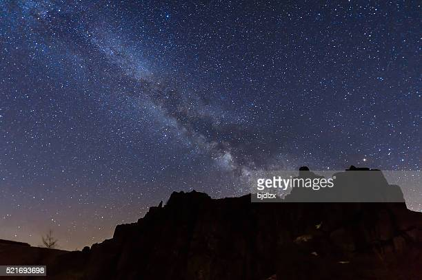 the mountains under the milky way - astrophysics stock pictures, royalty-free photos & images