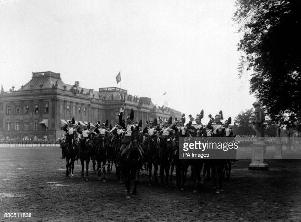 The Mounted Band of a German Lancer regiment marches past during the annual review held at Potsdam, near Berlin, in the presence of Kaiser Wilhelm...