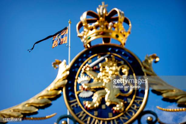 The mourning pennant attached to the Royal Flag is flown on Palace Noordeinde the official workplace of King Willem-Alexander of The Netherlands...