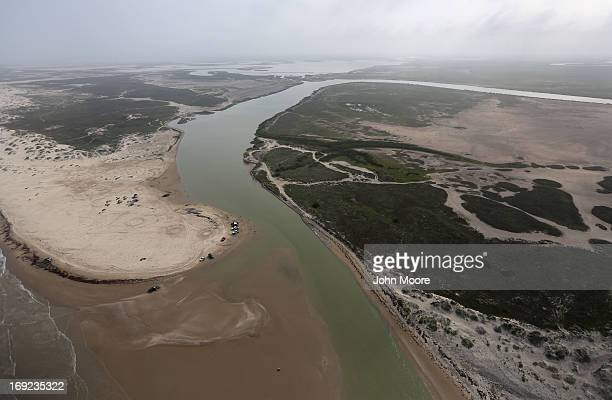 The mouth of the Rio Grande releases fresh water into the Gulf of Mexico forming the border between the United States and Mexico on May 21 2013 at...