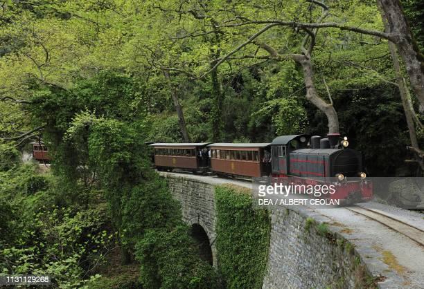 The Moutzouris steam train designed by Giorgio De Chirico's father Milies Pelion peninsula Greece