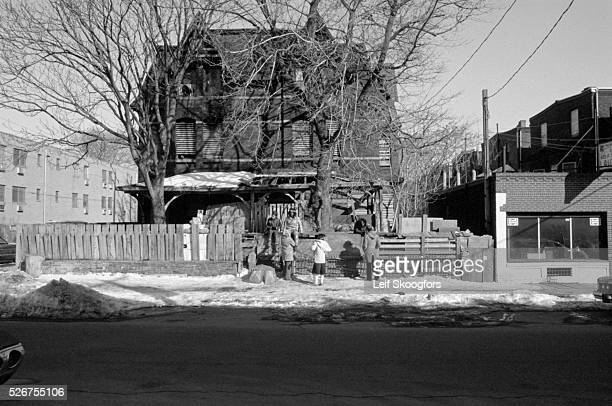 The MOVE cult house on 33rd street in the Powelton Village section of Philadelphia Pennsylvania