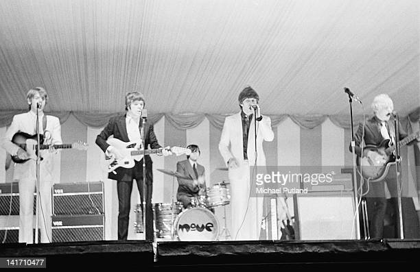 The Move perform on stage at the Windsor National Jazz and Blues Festival UK 30th July 1966 Left to right Trevor Burton Roy Wood Bev Bevan Carl Wayne...
