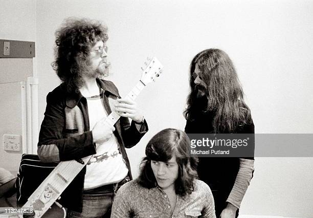 The Move while also recording as Electric Light Orchestra backstage at Top of the Pops 13th October 1971 LR Jeff Lynne Bev Bevan Roy Wood