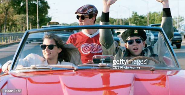"""The movie """"Ferris Bueller's Day Off"""", written and directed by John Hughes. Seen here from left, Mia Sara as Sloane Peterson, Alan Ruck as Cameron..."""