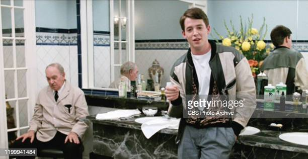 """The movie """"Ferris Bueller's Day Off"""", written and directed by John Hughes. Seen here from left, Tom Spratley as Men's Room Attendant and Matthew..."""