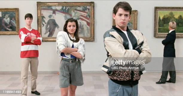 """The movie """"Ferris Bueller's Day Off"""", written and directed by John Hughes. Seen here from left, Alan Ruck as Cameron Frye, Mia Sara as Sloane..."""