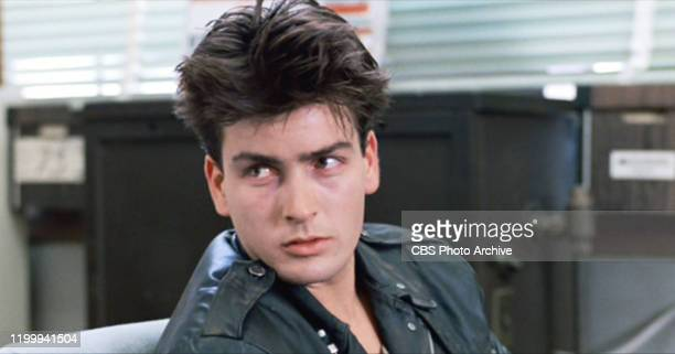 """The movie """"Ferris Bueller's Day Off"""", written and directed by John Hughes. Seen here, Charlie Sheen as Boy in Police Station. Initial theatrical..."""