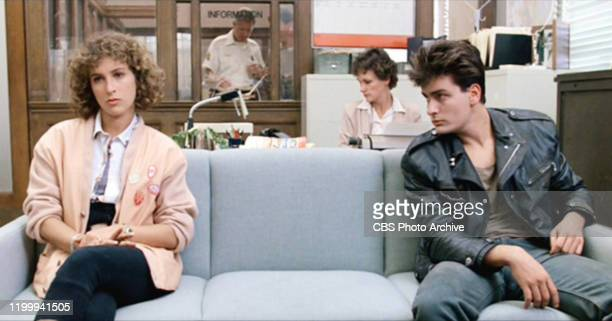 """The movie """"Ferris Bueller's Day Off"""", written and directed by John Hughes. Seen here from left, on couch, Jennifer Grey as Jeanie Bueller and Charlie..."""