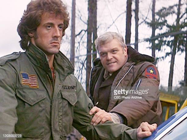 "The movie ""First Blood"", directed by Ted Kotcheff. . Based on David Morrell's novel of the same name. Seen here from left, Sylvester Stallone as John..."