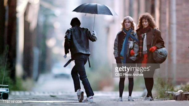 The movie Flashdance directed by Adrian Lyne Seen here from left Marc Lemberger as Mr Freeze Sunny Johnson as Jeanie Szabo and Jennifer Beals as Alex...