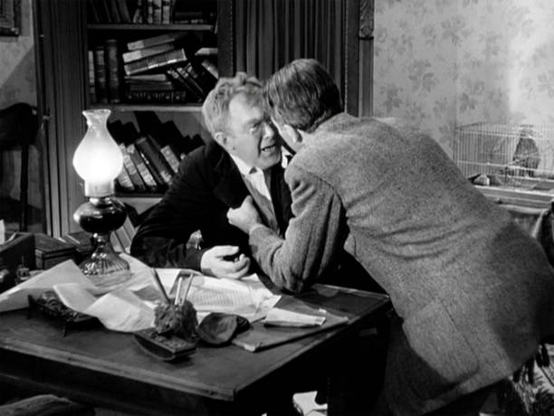 """The movie """"It's a Wonderful Life"""", produced and directed by Frank Capra. Seen here from left, Thomas Mitchell as Uncle Billy Bailey and James Stewart..."""
