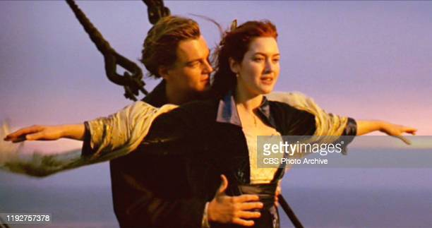 The movie Titanic written and directed by James Cameron Seen here from left Leonardo DiCaprio as Jack and Kate Winslet as Rose Initial USA theatrical...