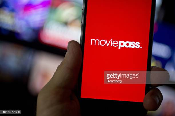 The MoviePass website is displayed on an Apple Inc iPhone in an arranged photograph taken in Washington DC US on Friday Aug 17 2018 Movie Pass owned...