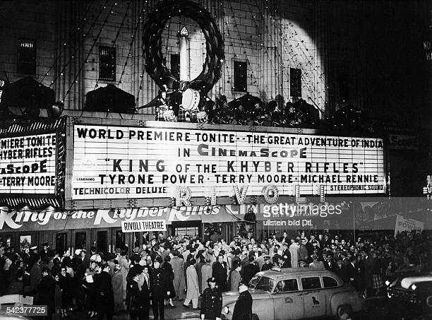 The movies in the 1950ies Rivoli movie theater in 1955 rush for tickets for the premiere of 'King of the Khyber Rifles' starring Tyrone Power Terry...