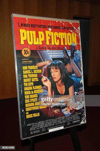 The movie's poster is seen at AMPAS screening of 'Pulp Fiction' as part of the 'Great To Be Nominated' series at the Academy of Motion Picture Arts...