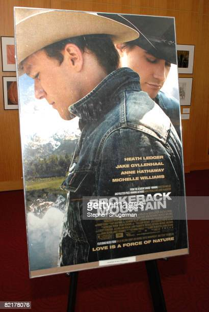 The movie's poster is seen at the Academy of Motion Picture Arts and Sciences' Great to Be Nominated screening of Brokeback Mountain at the Samuel...