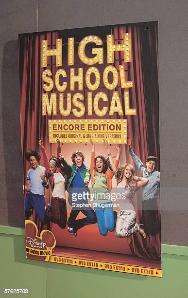 """The movie's poster on display at the DVD launch gala for """"High School Musical"""" at the El Capitan Theatre on May 13, 2006 in Hollywood, California."""