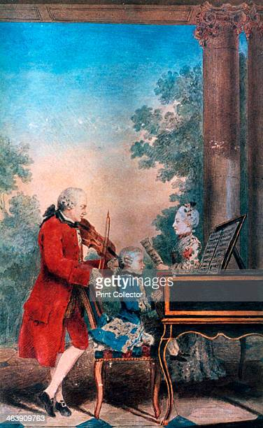 The Mozart family in Paris in 1763 Leopold Mozart is the violinist the singer is his daughter MariaAnna and his son Wolfgang Amadeus is at the...