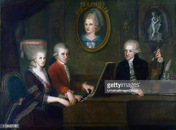 The Mozart Family Leopold with his daughter MariaAnna Nannerl and son Wolfgang Amadaeus at the keyboard Portrait of Leopold's late wife Anna Maria...
